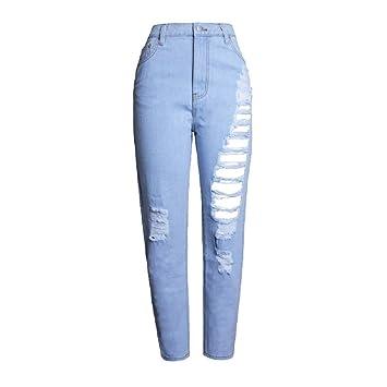 Scofeifei Pantalones Vaqueros Rasgados Azules claros de ...