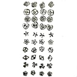 20 Pairs of 925 Sterling Silver Women's Stud Earrings by Kurtzy - Variety of Designs Included in Free Storage Case - Suitable for Daytime and Evening Wear - Perfect Gift for Girls or Ladies.