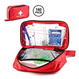 Leegoal First Aid Emergency Survival Kit, 180pcs Outdoor Medical Emergency Bag for Home, Camping, Hiking, Sports, Work, Office, Survival and Traveling