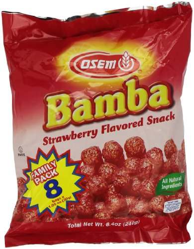 Bamba Strawberry Snacks All Natural Sweet Red Strawberry Bamba Corn Puffs,1.05oz Bag, (Family Pack of 8 Bags)