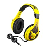 eKids Pokemon Pikachu Kids Headphones for Kids Adjustable Stereo Tangle-Free 3.5Mm Jack Wired Cord Over Ear Headset for Children Parental Volume Control Safe Perfect for School Home & Travel, Pikachu