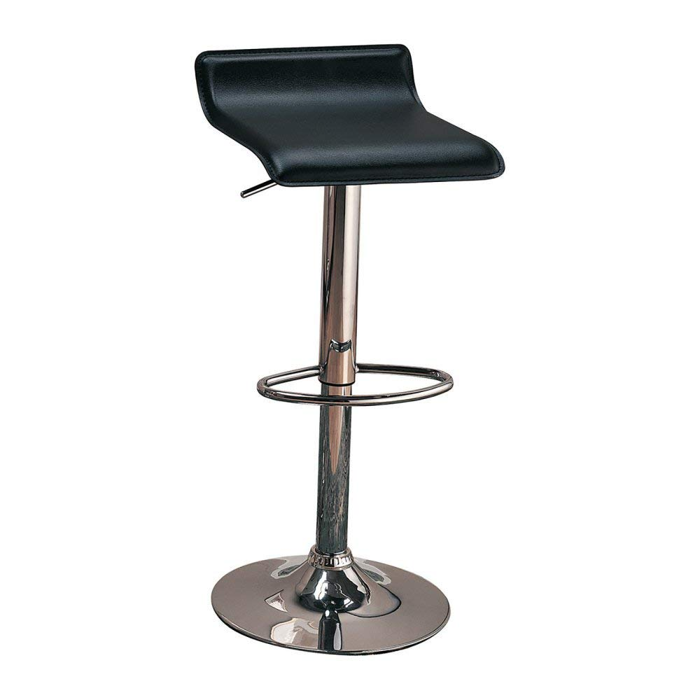 Set of 2 29 Upholstered Backless Bar Stools with Adjustable Height Black and Chrome