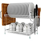 Kitchen 2 Tier Stainless Steel Dish Rack Cup Drainer Rack With Removable Plastic Drainboard (Silver-1)