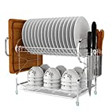 dish drain side - Kitchen 2-Tiers Dish Drainer Drying Rack Storage with Drain Board Drip Tray, Utensil Cup Cutlery Plate Chopstick Chopping Block Holder Organizer