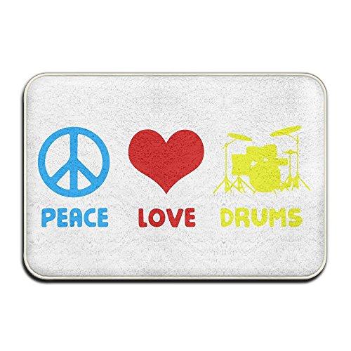 Peace Love Drums Non Slip Indoor Doormat Standing Rug
