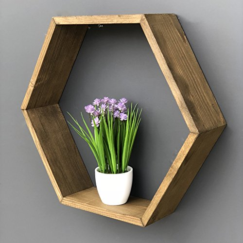 LaModaHome Wall Shelf Wall Mountable with Invisible Brackets Easy to Hang Wooden Heaxagon Geometrical Wall Vase Trinket 100% Solid Wood Handmade Size (18.5