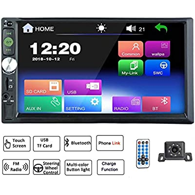LEXXSON Din Car Stereo Bluetooth 7inch Touch Screen Car Radio TF USB AUX FM MP3 MP4 MP5 Media Player with Remot control Rear Camera input Phone Link for Android System