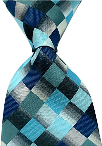 Secdtie Men's Classic Checks Purple Grey Jacquard Woven Silk Tie Necktie Teal Blue