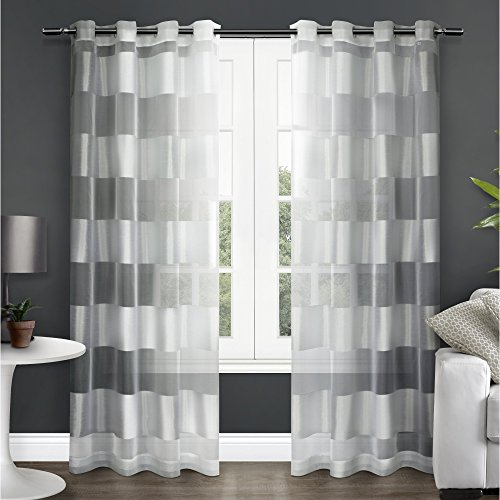 Exclusive Home Navaro Striped Sheer Window Curtain Panel Pair with Grommet Top, Winter White, 54x84 (And White Curtains Silver)