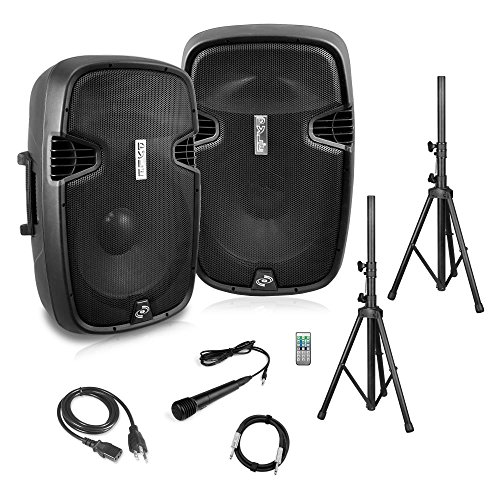 Powered PA Speaker System   Active & Passive Bluetooth Loudspeakers Kit with 8 Inch Speakers, Wired Microphone, MP3/USB/SD/AUX Readers, Speaker Stands,Remote Control - Pyle PPHP849KT (Lightweight Speakers Pa)