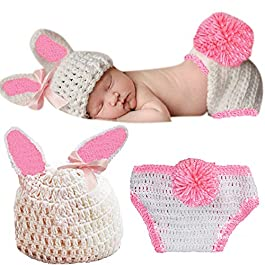 Babymoon (Set of 2) Baby Rabbit Designer Crochet Clothing/Best Costume/Photography Props/Best Baby Shower Gift