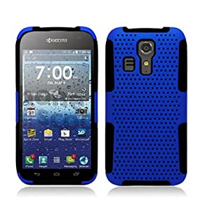Dual Layer Plastic Silicone Perforated Blue On Black Hard Cover Snap On Case For Kyocera Hydro Icon C6730 (Accessorys4Less)