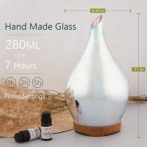 280ml Essential Oil Diffuser 3D Glass Aromatherapy Ultrasonic Humidifier - 7 Color Changing LEDs, Waterless Auto-Off,Timer Setting, BPA Free for Home Hotel Yoga Leisure SPA Gift by MELLER (Image #6)