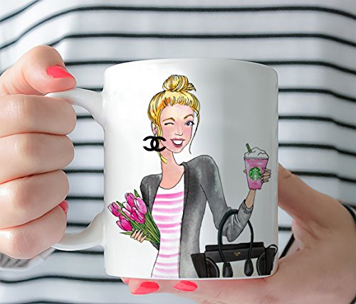 Coffee Mug - Fashion Girl Mug Cup - Gift for girl lady her -Tea Cup 11 Oz or 15 Oz - Pretty Celine