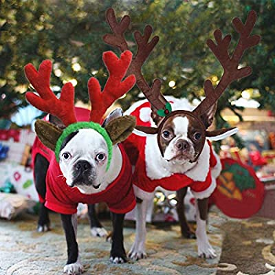 RYPET 2 PCS Christmas Reindeer Antler Headband with Ears for Medium and Large Dogs