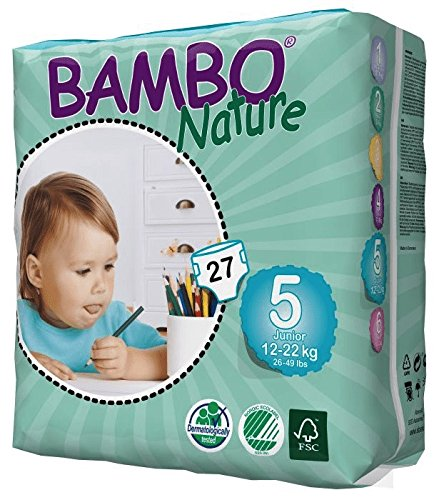 Large Product Image of Bambo Nature Eco Friendly Baby Diapers Classic for Sensitive Skin, Size 5 (26-49 lbs), 162 Count (6 Packs of 27)