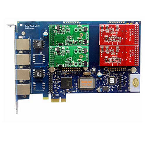 AsteriskStore Analog Card with 2 FXO +2 FXS Ports,PCI Express (PCI-E) Connector,for Issabel,Freepbx tdm410e tdm400e