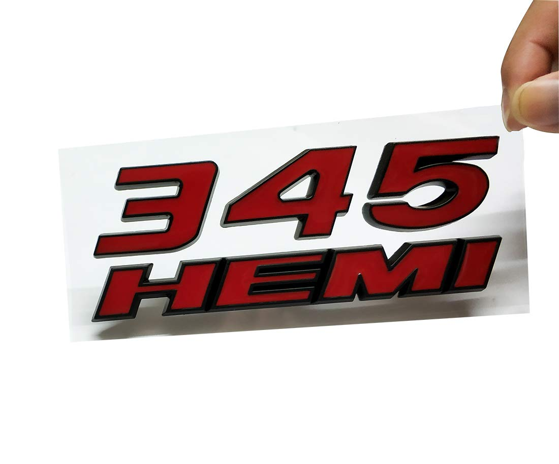 2pcs 345 HEMI Emblem Fender Side Badge Sticker 6.4L Decal Replacement For RAM Challenger SRT Chrysler 300c 3500 SRT8 Red