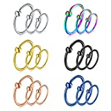 vcmart Cartilage Earring-16G Nose Rings Hoop Captive Bead Rings 8mm Surgical Steel Eyebrow Tragus Helix Septum Piercing Ring 18pcs Mix Color