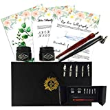 Premium Calligraphy Starter Set by The Lettering Tribe | Beginners Modern Calligraphy Kit with 5 Nibs + 1 Oblique + 1 Wooden Dip Pen + 2 Inks + How-to Guide ebook | Learn the Art of Lettering Today.