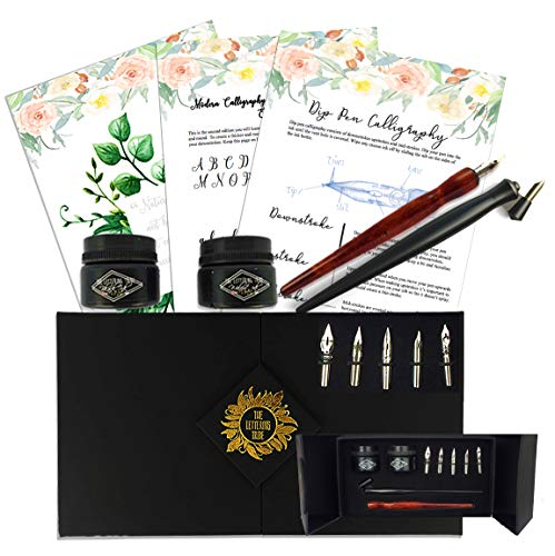 Premium Calligraphy Starter Set by The Lettering Tribe | Beginners Modern Calligraphy Kit with 5 Nibs + 1 Oblique + 1 Wooden Dip Pen + 2 Inks + How-to Guide ()