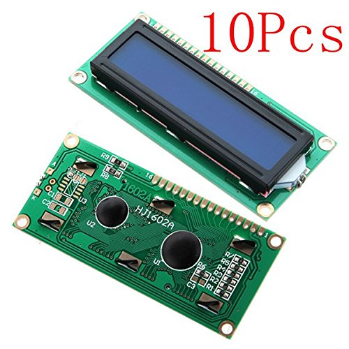 10Pcs 1602 Character LCD Display Module Blue Backlight by BephaMart