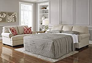 """Benchcraft Sansimeon 7990439 87"""" Pull-Out Queen Sofa Sleeper with Coil Seat Cushions Memory Foam Mattress and Easy-to-Lift Mechanism in Stone"""