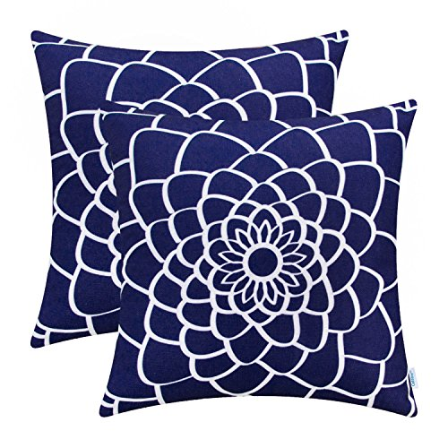 (CaliTime Pack of 2 Soft Canvas Throw Pillow Covers Cases for Couch Sofa Home Decor Dahlia Floral Outline Both Sides Print 18 X 18 Inches Navy Blue)