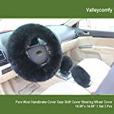 Valleycomfy Fashion Steering Wheel Covers for Women/Girls/Ladies Australia Pure Wool 15 Inch 1 Set 3 Pcs, Black