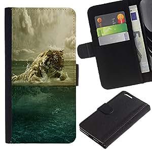 KLONGSHOP // Tirón de la caja Cartera de cuero con ranuras para tarjetas - Agua arte del tigre - Apple Iphone 6 PLUS 5.5 //
