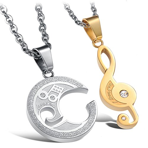- Love Jewelry New Titanium Stainless Steel Couple Matching Set Creative and Stylish Pendant Necklace with a Gift Box, Best Gift! (Men)