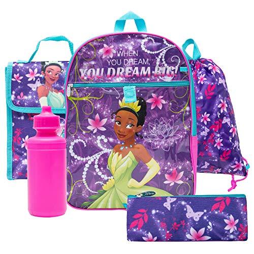 Disney Princess Backpack Combo Set - Disney Princess 5 Piece Backpack School Set (Purple)