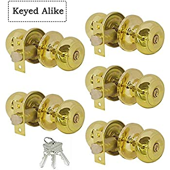 Entry door knobs with lock and key polished brass keyed - Contractor pack interior door knobs ...