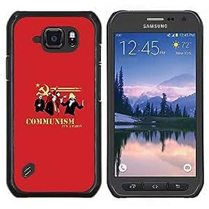 TECHCASE---Cubierta de la caja de protección para la piel dura ** Samsung Galaxy S6 Active G890A ** --Partido Soviética Cartel Rojo