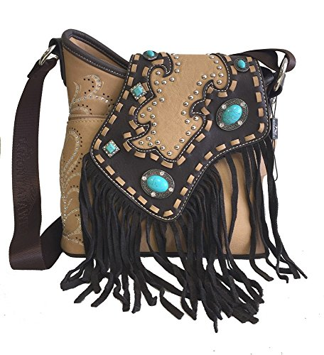 Montana West Western Ladies Crossbody Purse with Fringe Tan and Turquoise Stones
