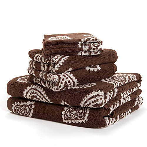 Paisley 100% Cotton 6-Piece Towel Set, Chocolate