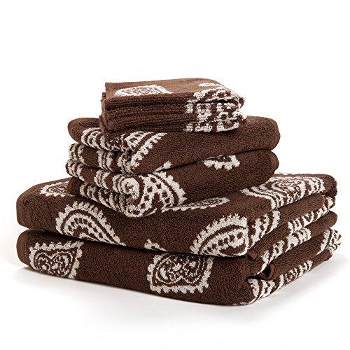Paisley 100% Cotton 6-Piece Towel Set, Chocolate