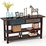 Tribesigns 59'' Rustic Style Solid Wood Sofa Console Table Hall Console Table with Drawers and Open Shelves for Entryway, Living Room