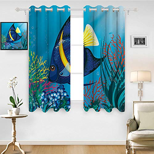 SATVSHOP Thermal Insulating Blackout Curtain - 84W x 108L Inch- Patterned Drape for Glass Door.Nautical Tropical Fish Swimming Underwater Bubble Coral eef Deep Sea Aquarium Image Blue Yellow. ()