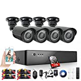 Rraycom Security Camera System 8 Channel 1080H HDMI DVR 4 2000TVL Weatherproof Indoor/Outdoor Cameras 1TB Hard Drive,SMD LED Night Vision Distance 36M