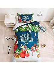3D-tryckt sängkläder set jul snögubbe sängkläder set ultramjukt tema påslakan för barn färgglad heminredning (140 cm x 180 cm)