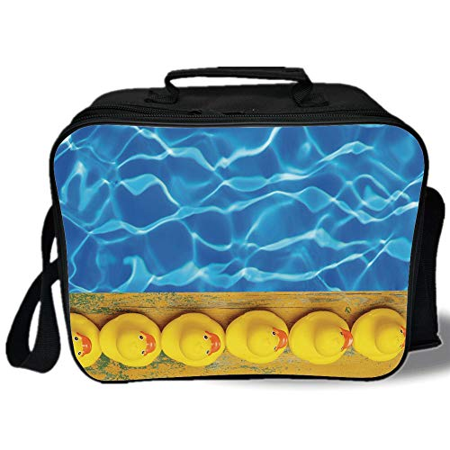 - Yellow and Blue 3D Print Insulated Lunch Bag,Cute Rubber Ducks Lined Up Near the Pool Azure Water Fun Summer Decorative,for Work/School/Picnic,Aqua Orange Yellow