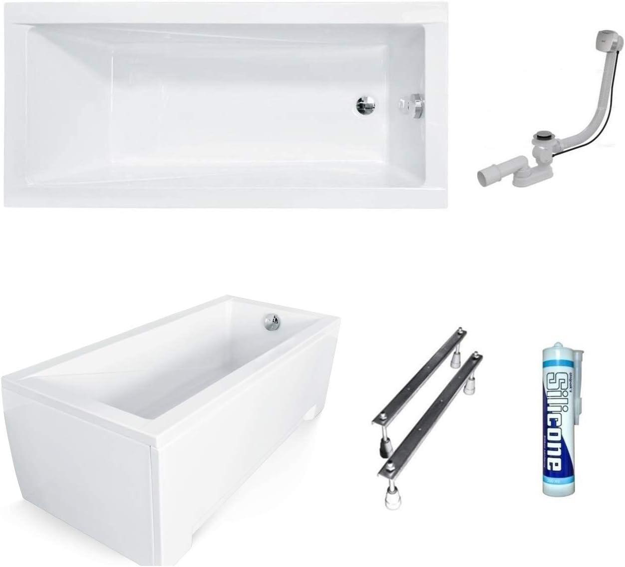 Badewanne Rechteck Modern Acryl 170x70 Schürze Ablaufgarnitur Füße SilikonGRATIS