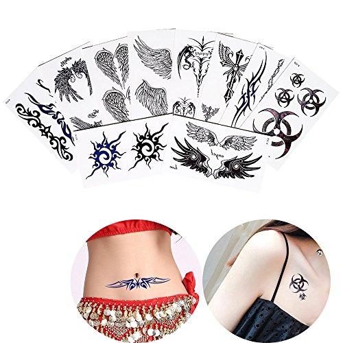 Temporary Tattoos Wings (19 Sheets Temporary Body Beauty Makeup Tattoo Haunch Leg Arm Art Tattoo Sticker)