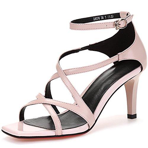 Zapatos hueco vendaje boca de los pescados transpirable de tacón alto sandalias Con Una fina femenina de tacón alto Pink