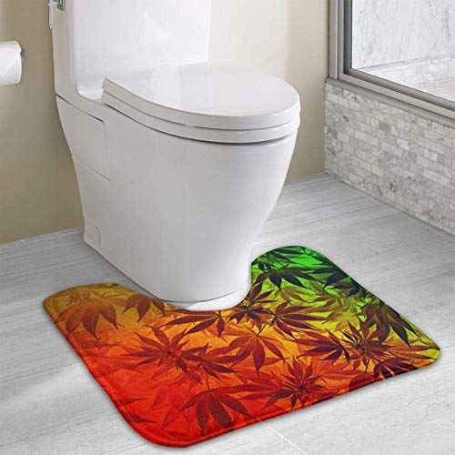 Beauregar Weed Wallpaper U-Shaped Contour Bath Mat Bath Rug Floor Mats Nonslip Toilet Floor Mat 19.2″x15.7″