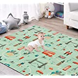 JPCO Baby Play mat, Crawling Mat Kids Playmat Folding Portable Indoor Outdoor Non Toxic Waterproof for Babies, Infants…