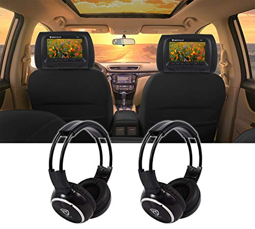Pair Rockville RHP7-BK 7 Black Plug N Play Car Headrest Monitors+Headphones