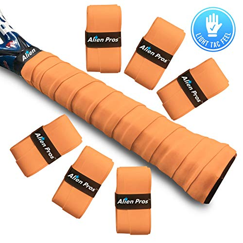 Alien Pros Tennis Racket Grip Tape (6 Grips) – Precut and Light Tac Feel Tennis Grip – Tennis Overgrip Grip Tape Tennis Racket – Wrap Your Racquet for High Performance (6 Grips, Orange)