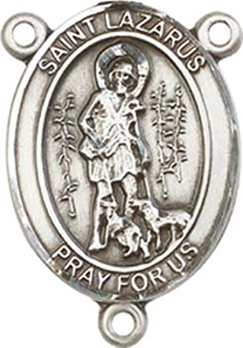 Sterling Silver Saint Lazarus Rosary Centerpiece Medal, 3/4 Inch ()